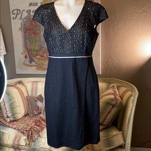 Lisa Baday Black Eyelet Wrap Dress 10